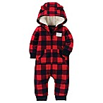 carter's® Size 3M Buffalo Check Fleece Hooded Jumpsuit in Red