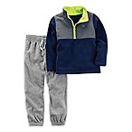 carter's® Size 3M 2-Piece Fleece Half-Zip Jogger Set in Navy