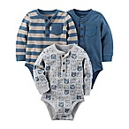 carter's® Size 3M 3-Pack Long Sleeve Thermal Bodysuits in Navy/Khaki/Grey