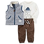 carter's® Size 3M 3-Piece Polar Bear Sherpa Vest, Shirt, and Pant Set in Navy/Brown