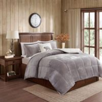 Woolrich® Alton Plush to Sherpa Twin Comforter Set in Grey/Ivory