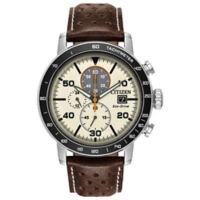 Citizen Brycen Men's 44mm Chronograph Watch in Stainless Steel with Brown Leather Strap