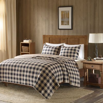 woolrich buffalo check oversized king quilt set in tan