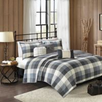 Madison Park Ridge Herringbone Full/Queen Coverlet Set in Grey