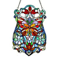 River of Goods Stained Glass Butterfly Fleur Window Panel