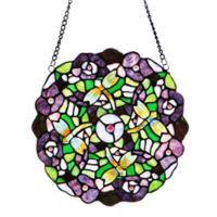 River of Goods Stained Glass Purple Pansy Window Decoration