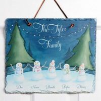 Our Snowman Family Watercolor Slate Sign