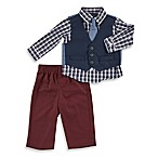Nautica Size 3-6M 4-Piece Woven Pique Vest Set in Dark Blue Plaid