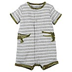 carter's® Size 9M Alligator Striped Snap-Up Romper in Grey