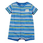 "carter's® Size 3M Snap-Up ""Handsome Little Boy"" Dog Striped Romper in Blue"