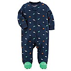 carter's® Size 3M Snap-Up Dinosaur Sleep & Play Footie in Navy