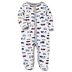 carter's® Preemie Snap-Up Car Print Footie Pajama in White