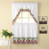 Apple Blossom 24-Inch Kitchen Window Curtain Tiers and Swag in Multi
