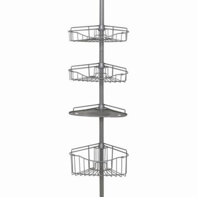 Zenna HomeR 3 Basket Corner Pole Shower Caddy In Satin Nickel