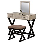 Linon Home 2-Piece Alexis Vanity Set in Grey