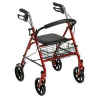 Drive Medical 4-Wheel Walker Rollator in Red