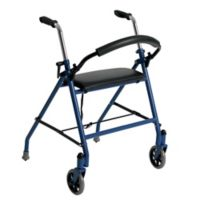Drive Medical Standard Two-Wheeled Walker with Seat in Blue