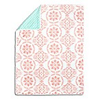 The Peanut Shell® Medallion Pom Pom Blanket in Coral/Mint