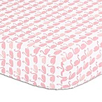The Peanut Shell® Swan Fitted Crib Sheet in Light Coral
