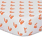 The Peanut Shell® Fox Fitted Crib Sheet in Grey/Orange