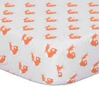 The Peanutshell™ Fox Fitted Crib Sheet in Grey/Orange