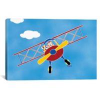 iCanvas Cat in a Biplane 12-Inch x 18-Inch Canvas Wall Art