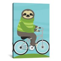 iCanvas Cycling Sloth 26-Inch x 18-Inch Canvas Wall Art
