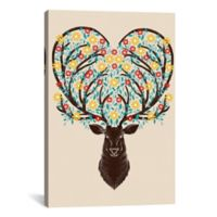 iCanvas Blooming Deer 18-Inch x 12-Inch Canvas Wall Art