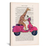 iCanvas Giraffe on Motorbike 18-Inch x 26-Inch Canvas Wall Art