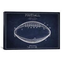 iCanvas Football Blueprint 18-Inch x 26-Inch Canvas Wall Art in Navy