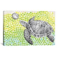 iCanvas Turtle and Fish 12-Inch x 18-Inch Canvas Wall Art