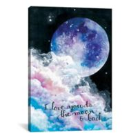 "iCanvas ""I Love You to the Moon and Back"" 40-Inch x 60-Inch Canvas Wall Art"
