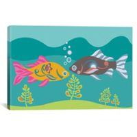 iCanvas Two Little Fishies 12-Inch x 18-Inch Canvas Wall Art
