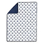 The Peanut Shell® Anchor Pom Pom Blanket in Navy