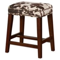 Linon Home Walt Cow Print Counter Stool in Brown
