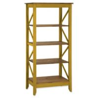 Manhattan Comfort Jay 31.5-Inch Wood Bookcase in Yellow Wash