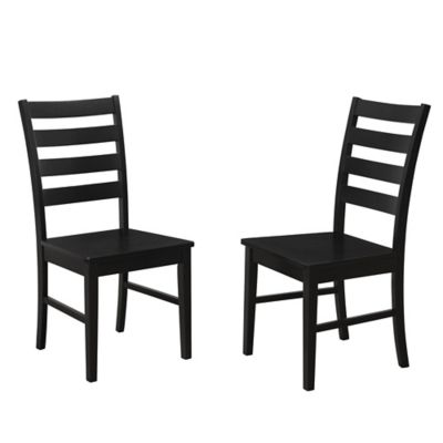 Forest Gate Henderson Ladder Back Chairs In Black (Set Of 2)