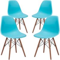 Poly and Bark Vortex Side Chair in Walnut/Aqua (Set of 4)