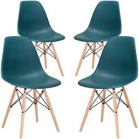 Poly and Bark Vortex Dining Side Chair in Teal (Set of 4)