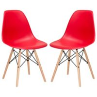 Poly and Bark Vortex Side Chair in Red (Set of 2)