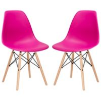 Poly and Bark Vortex Side Chair in Fuchsia (Set of 2)