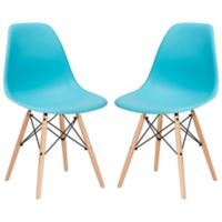 Poly and Bark Vortex Side Chair in Aqua (Set of 2)