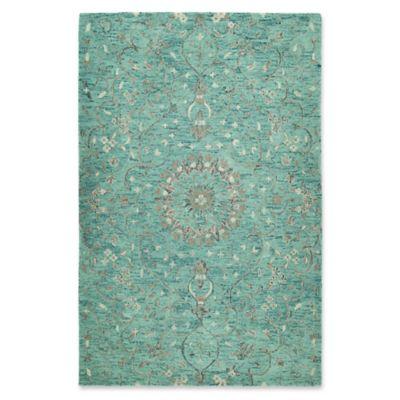 kaleen chancellor raja 9u0027 x 12u0027 handtufted area rug in turquoise