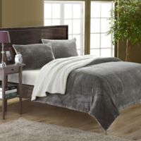 Chic Home Evelyn King 3-Piece Sherpa-Lined Blanket Set in Grey