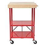 Origami 2-Shelf Foldable Wheeled Kitchen Cart in Red