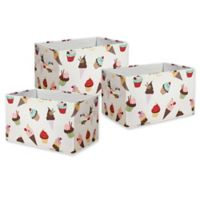 Lush Décor Cupcake Ice Cream Small Collapsible Storage Box (Set of 3)
