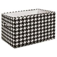 Lush Decor Houndstooth Collapsible Large Storage Box in Black (Set of 3)