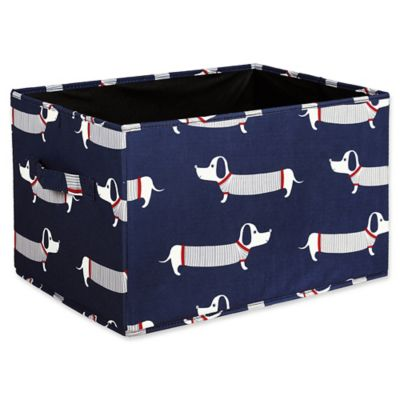 Lush Décor Sausage Dog Small Collapsible Storage Box In Navy (Set Of 3)