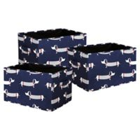 Lush Décor Sausage Dog Large Collapsible Storage Box in Navy (Set of 3)