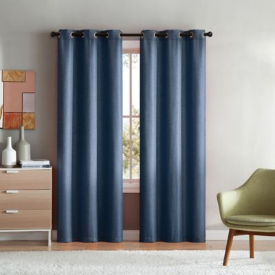 VCNY Home Mason Check 96 Inch Grommet Top Window Curtain Panel Pair In Indigo